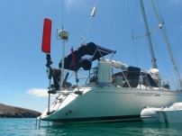 HYDROQUEST taking a break at anchor. She did very well on the passage!
