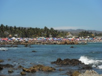 Beach at La Cruz - absolutely packed with people!