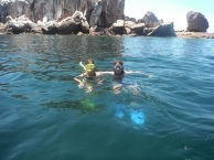 Em and Craig snorkelling in sealion territory