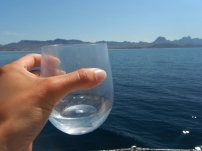 Water made from the sea. It takes sweet and much better than the marina water