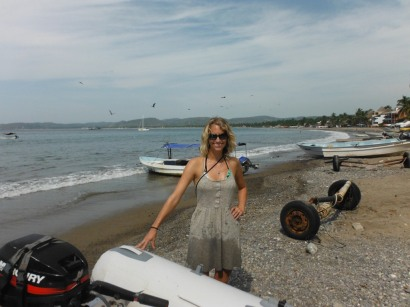 Sarah after her first surf dingy landing