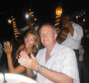 Dad and Sarah loving the music