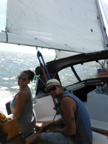 Upwind sailing - hang on!