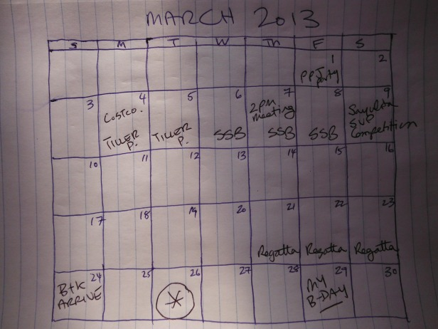March Calendar - will fill up fast! Countdown is on...