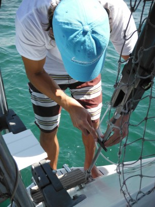Last strut to hold the wire off the backstay