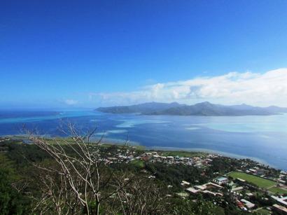 Town of Uturoa on island of Raiatea with Tahaa in the background