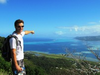 Will points to Bora Bora in the distance