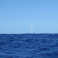 This is what a swell looks like... passing another boat en route to Bora Bora