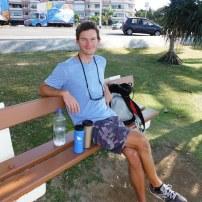 A seaside bench in Baie de Citrons