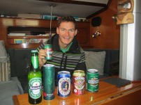 Will gets ready to celebrate with his South Pacific beer collection