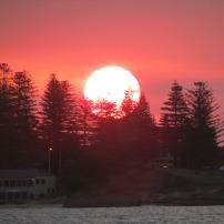 Sunset over the coastline
