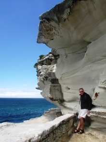 Dad and the sandstone cliffs
