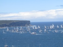 All the smaller boats following