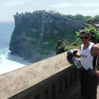Will with Uluwatu temple in the backgound