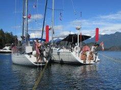Yachtzee and Kaiquest, Mink Island stern tie in Desolation Sound
